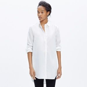Madewell White Button Down Tunic Shirt